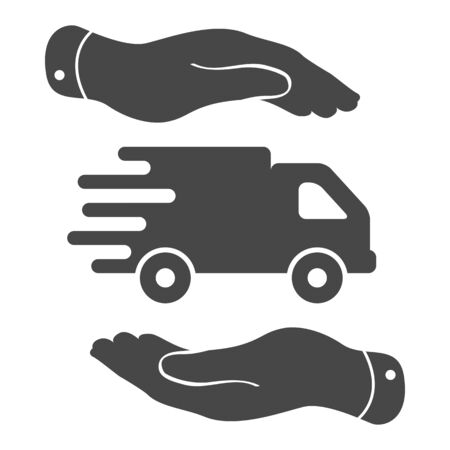 two hands with flat truck pictogram on a white background