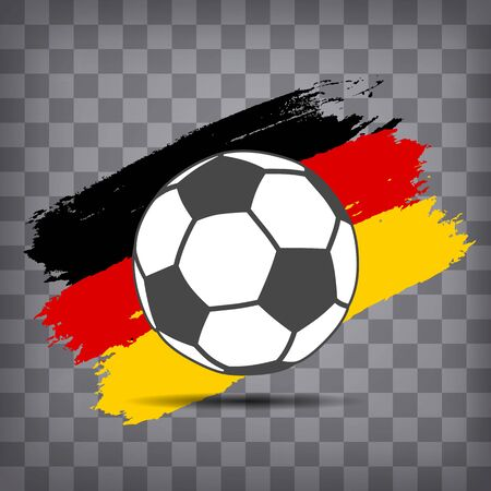 football ball icon on German  flag background from brush strokes in grunge style on dark transparent chequered background Иллюстрация