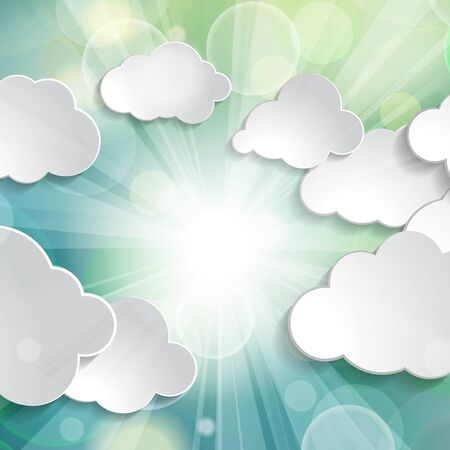 white paper clouds on beautiful spring abstract green natural sunny rays light background Çizim