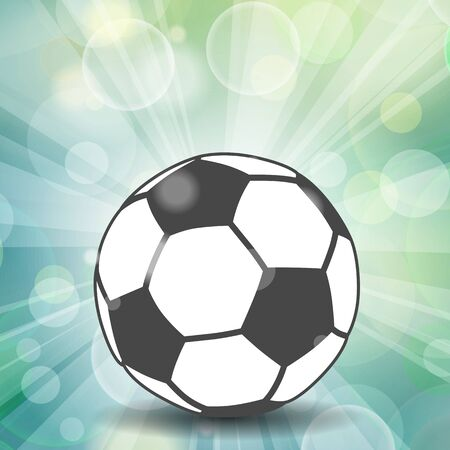 soccer ball icon with shadow and flash rays on blue background