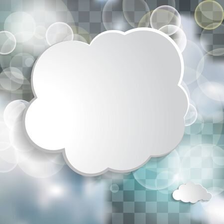 white cloud text box in the blue sky with twinkle lights on the chequered  background