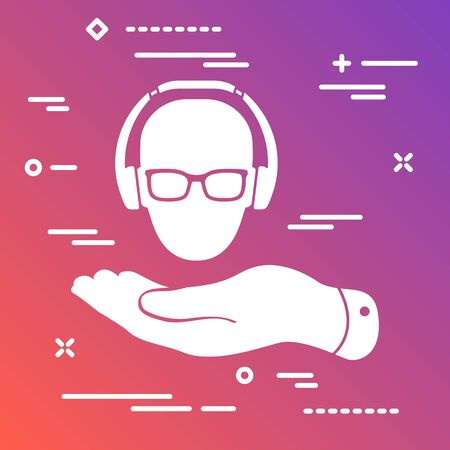 flat icon in the form of a marketer's hand holding a targeted user with glasses in headphones on colorful modern gradient background Vettoriali