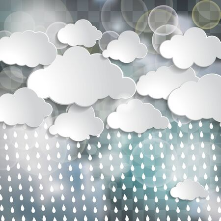 white clouds and rain drops in the blue sky with twinkle lights on the chequered  background