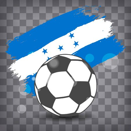 football ball icon on Honduras flag background from brush strokes in grunge style on dark transparent chequered background Фото со стока - 146856056