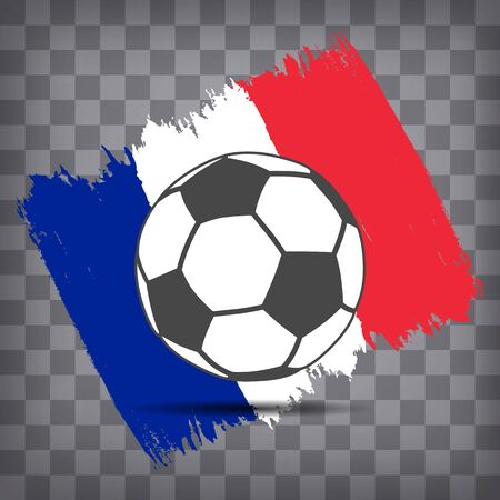soccer ball icon on French flag background from brush strokes in grunge style on dark transparent chequered background Фото со стока - 146856075