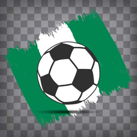 football ball icon on Nigerian flag background from brush strokes in grunge style on dark transparent chequered background