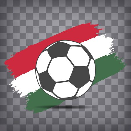 football ball icon on Hungarian flag background from brush strokes in grunge style on dark transparent chequered background Фото со стока - 146856082