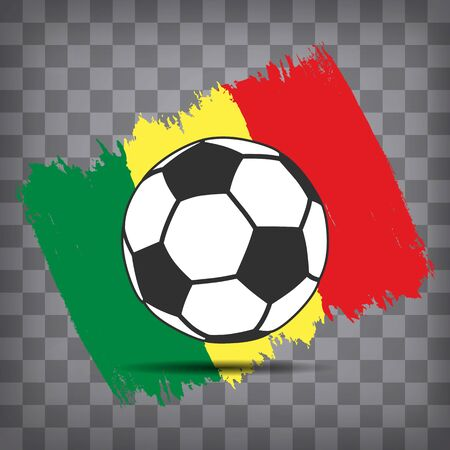football ball icon on Senegalese flag background from brush strokes in grunge style on dark transparent chequered background Иллюстрация