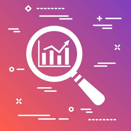search graph icon flat on a modern gradient colorful background, loupe icon design,  vector magnifying glass
