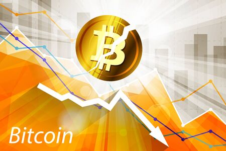 Broken bitcoin cryptocurrency in the bright rays on background with statistics chart and arrow going down. Cryptocurrency falling crisis concept