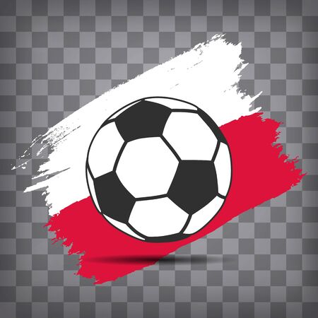 football ball icon on Polish flag background from brush strokes in grunge style on dark transparent chequered background Иллюстрация