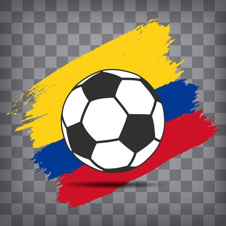football ball icon on Colombian  flag background from brush strokes in grunge style on dark transparent chequered background Фото со стока - 146856102