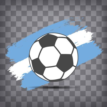 football ball icon on Argentine flag background from brush strokes in grunge style on dark transparent chequered background