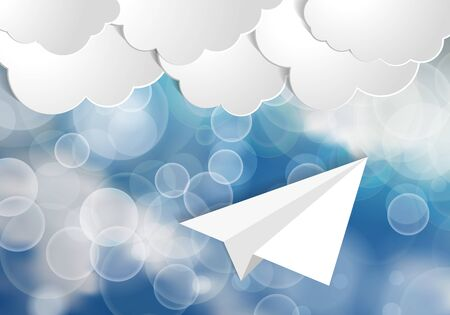 White paper aplane with Blue and White Lights and white paper clouds in Sky with festive beams on blue background.  Blue sky tranquil  travel background. Çizim