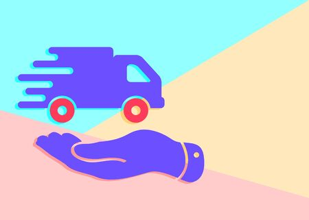 Flat Line modern pastel colored art design graphic image concept of flat hand presenting delivery truck icon on pink and blue background