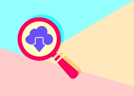 flat modern red magnifying glass cloud computing download icon with shadow on blue and pink pastel colored background
