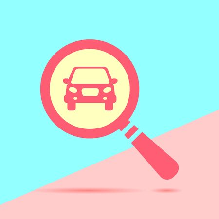 flat modern red Search concept of rent a car with shadow on blue and pink pastel colored background
