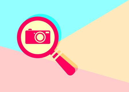 modern flat red flat magnifier search icon with photo camera with shadow on blue and pink pastel colored background