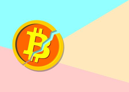 Flat modern pastel colored art design graphic image concept of Broken bitcoin cryptocurrency  with shadow on pink and blue background. Cryptocurrency falling crisis concept Illustration