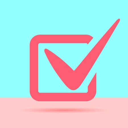 flat modern tick vote checklist icon with shadow on blue and pink pastel colored background