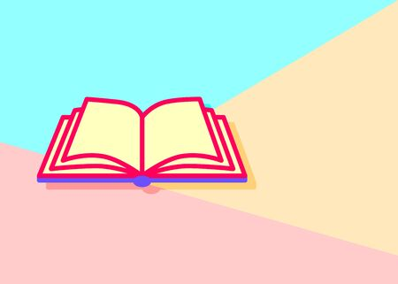flat lay modern pastel colored open book icon with shadow on blue and pink background