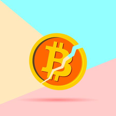 Flat modern pastel colored art design graphic image concept of Broken bitcoin cryptocurrency  with shadow on pink and blue background. Cryptocurrency falling crisis concept  イラスト・ベクター素材
