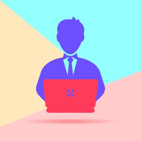 Flat Line modern pastel colored art design graphic image concept of man with laptop icon with shadow on pink and blue background