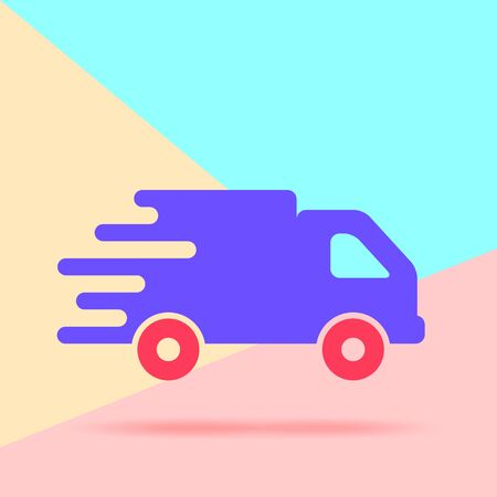 Flat Line modern pastel colored art design graphic image concept of faster flat truck icon on pink and blue background