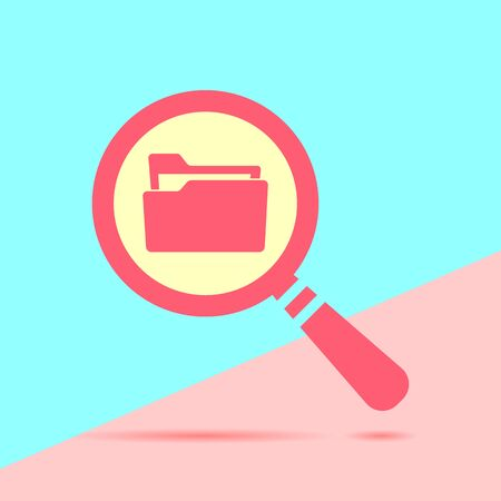 flat modern red  Search concept with folder icon with shadow on blue and pink pastel colored background