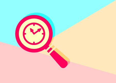modern flat red flat magnifier search icon with clock with shadow on blue and pink pastel colored background