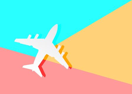 Flat modern art design graphic image of airplane silhouette on pastel colored pink and blue background.