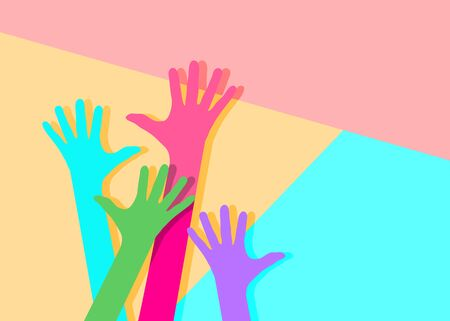 Flat art design graphic image of icon hppy arms on pink and blue background 向量圖像