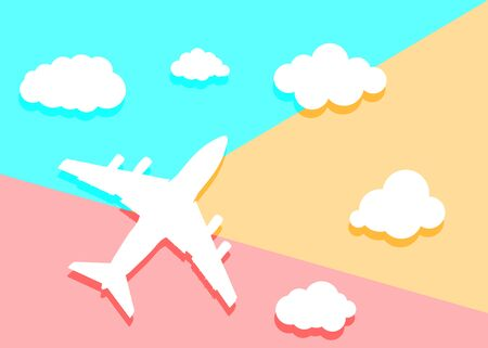 Flat lay art design graphic image of paper airplane with clouds  on pink and blue background