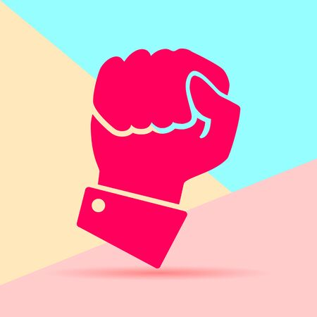 Flat modern art design graphic image of icon hand compressed in a fist on pink and blue background. concept of fighting for the rights
