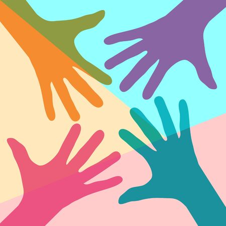 Flat art design graphic image of team symbol of colorful hands  on pink and blue background