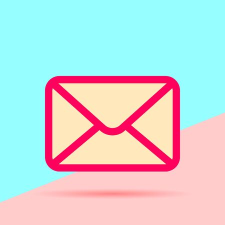 Flat art design graphic image of mail icon on pink and blue background  イラスト・ベクター素材