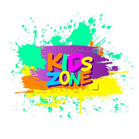 Colorful paint splashes with Kids zone emblem for children playground for play and fun