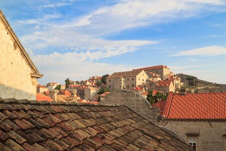 view of the roofs of the magnificent old town of Dubrovnik from the city walls