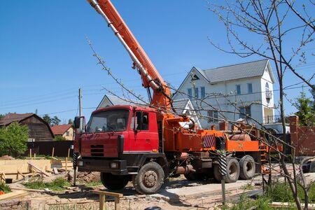 concrete pump on the site counstruction of foudation slab Stock fotó