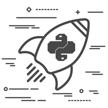 Flat line art concept illustration of spaceship with python code icon. Trendy snake vector symbol for web site development or button to mobile app. Vettoriali