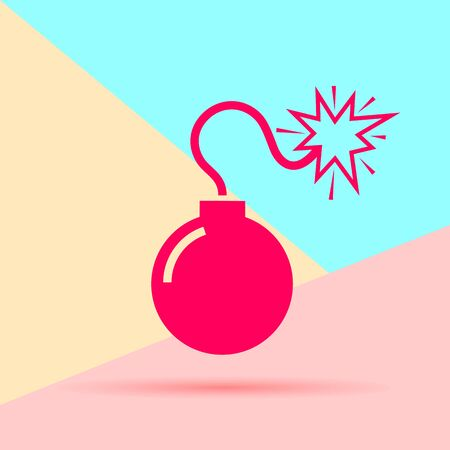 flat modern minimal red bomb icon with shadow on blue and pink pastel colored background