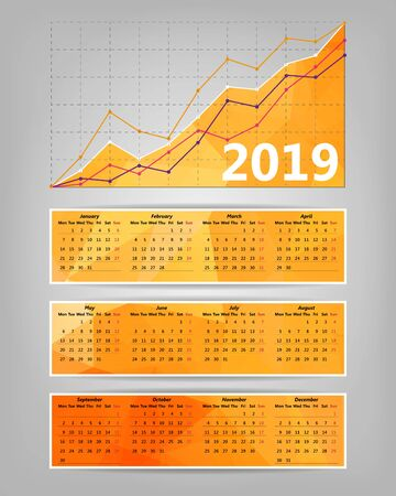 2019 calendar with business statistics chart showing different growing graphs