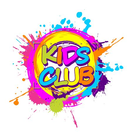 Colorful paint splashes with circular Kids Club emblem for children playground for play and fun