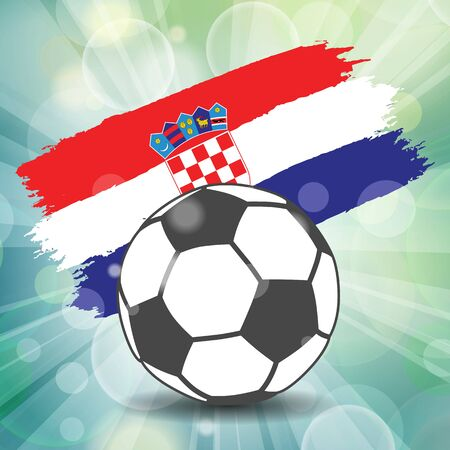 football ball icon on Croatian flag background from brush strokes in grunge style on flash rays green background