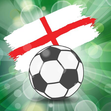 football ball icon on England flag background from brush strokes in grunge style on flash rays green background