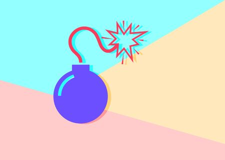 flat modern minimal violet bomb icon with shadow on blue and pink pastel colored background