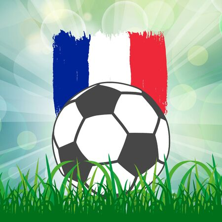 football ball icon on French flag background from brush strokes in grunge style on flash rays green background