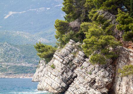 close-up view of the protruding rock in the sea in the Park Milocer near Budva, Montenegro 版權商用圖片