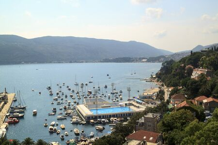 Beautiful view of popular resort town of Herceg Novi from fortress of Forte Mare, Montenegro