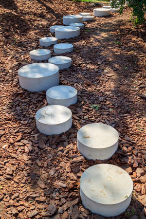 modern minimalist path of round stones in the Park leading on the ground mulched bark of trees
